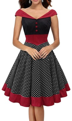Ladyjiao Womens Vintage 50s 60s Rockabilly Swing Dress Polka Dot A Line Pencil Dress XXL Black