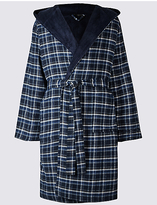 M&S Collection Pure Cotton Checked Dressing Gown with Belt