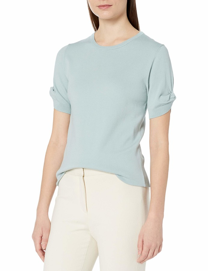Thumbnail for your product : Lark & Ro Amazon Brand Women's Slim Fit Knot Detail Short Sleeve Sweater
