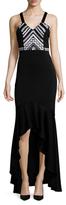 Shoshanna Embellished Top High Low Maxi Dress