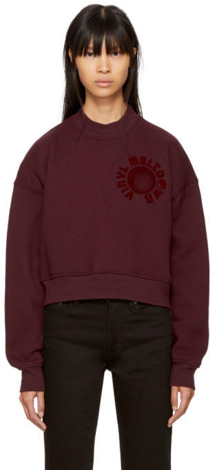 Alexander Wang Burgundy Oversized Cropped Vinyl Meltdown Sweatshirt