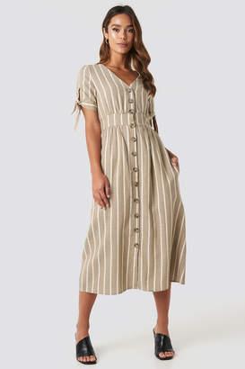 BEIGE Trendyol Short Sleeve Button Detailed Midi Dress