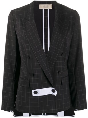 Maison Flaneur Check-Print Double Breasted Blazer