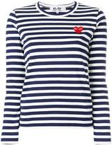 Comme des Garcons heart logo striped top