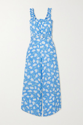 Faithfull The Brand Net Sustain Dolores Belted Shirred Floral-print Crepe Jumpsuit - Blue