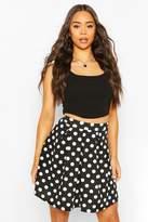 boohoo Pleated Polka Dot Skater Skirt