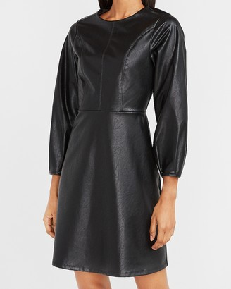 Express Vegan Leather Fit And Flare Dress