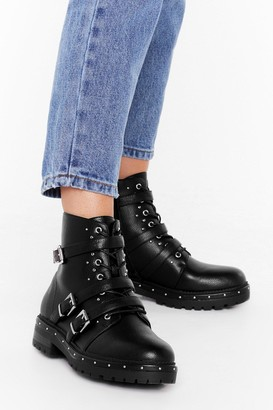 Nasty Gal Womens Buck 'Em All Faux Leather Boots - Black - 3