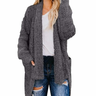 Kalorywee Ladies Winter Coats 2018 Sale Clearance Womens Open Front Solid Pocket Cardigan Long Sleeve Sweater Coat Grey