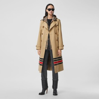 Burberry Stripe Detail Cotton Gabardine Trench Coat
