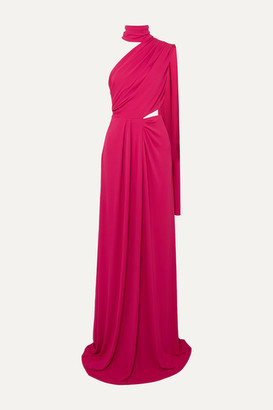 Saloni Venyx Honey One-shoulder Draped Stretch-jersey Maxi Dress - Pink
