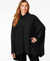 Alfani Plus Size Turtleneck Poncho Sweater, Only at Macy's