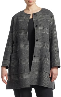 Marina Rinaldi, Plus Size Notte Wool Plaid Coat