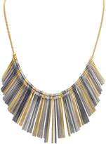 Bliss Tri-Tone Chain Fringe Bib Necklace