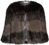 Gina Bacconi Subtle Stripe Faux Fur Cape