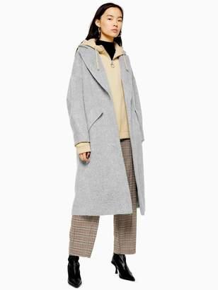 Topshop Brushed Longline Coat- Grey