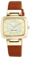 Nine West Women's NW/1840CHHY Gold-Tone and Brown Strap Watch