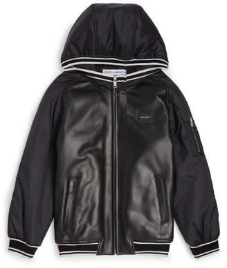 Dolce & Gabbana Kids Leather Bomber Jacket (8-12 Years)