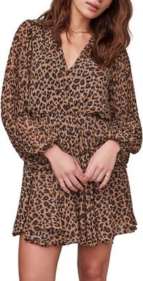 ASTR the Label Raphaela Leopard Print Long Sleeve Chiffon Dress