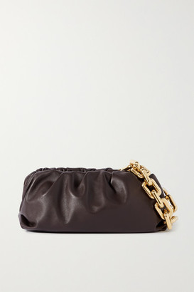 Bottega Veneta The Pouch Chain-embellished Gathered Leather Clutch - Dark brown