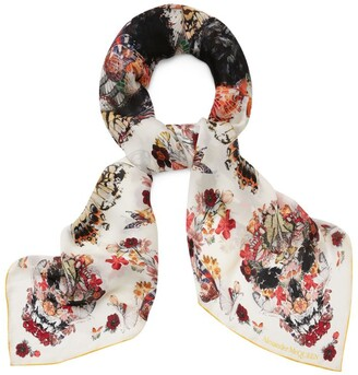 Alexander McQueen Silk Skull and Butterfly Scarf