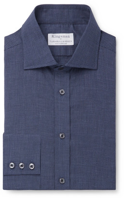 Kingsman + Turnbull & Asser Navy Puppytooth Cotton-Flannel Shirt