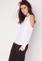 Missguided Cold Shoulder Tunic Top White
