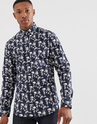 Jack and Jones slim fit floral print shirt in navy
