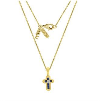 Peace Love World Cross Pendant w/ Chain, 14K Clad