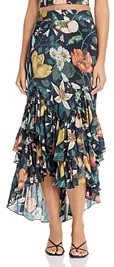 Atelier 1756 Gitana Cotton Floral Print Ruffled Skirt