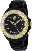 Jivago Cherie Womens Black Dial Gold-Tone Bezel Bracelet Watch