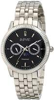 August Steiner Men's AS8050SSB Quartz Multi-Function Watch with Black Dial and Silver Bracelet