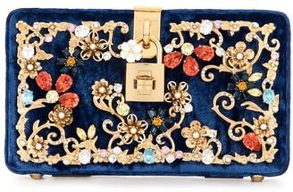 Dolce & Gabbana Pre-Owned Metal-Flower Embellished Velvet Clutch
