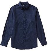 Roundtree & Yorke Trim-Fit Long-Sleeve Solid Poplin Sportshirt
