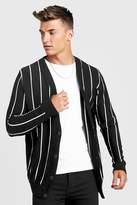 BoohoomanBoohooMAN Mens Black Vertical Stripe Knitted Cardigan, Black