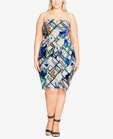 City Chic Trendy Plus Size Strapless Sheath Dress