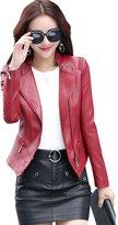 Tanming Women's Assymetrical Zip Moto Biker Faux Leather Jacket