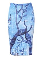 Futurino Women's Peacock Print Back Slit Bodycon Pencil Midi Elastic Skirt L