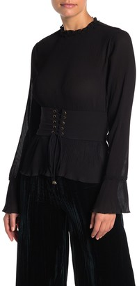 Moon River Mock Neck Corset Pleated Shirt