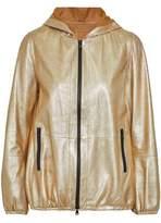 Brunello Cucinelli Coated Metallic Leather Hooded Jacket