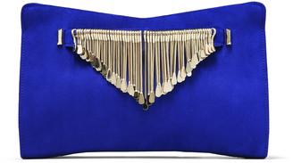 Jimmy Choo VENUS Cobalt Suede Clutch Bag with Gold Metal Fringe Bracelet