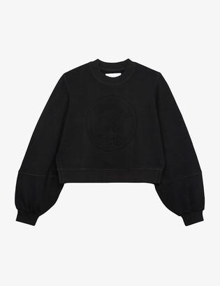 The Kooples Sport Puffed-sleeve cropped cotton-blend jersey sweatshirt