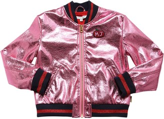 Little Marc Jacobs Laminated Faux Leather Bomber Jacket
