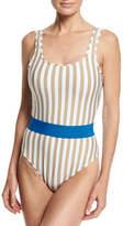 Diane von Furstenberg Striped Classic One-Piece Swimsuit, White Multi