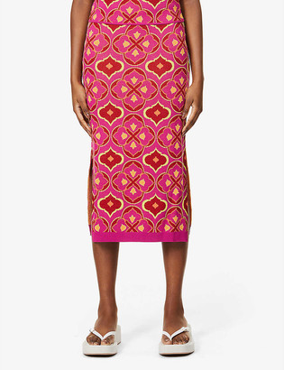 NEVER FULLY DRESSED Jasmine abstract-pattern stretch-woven midi skirt