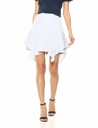 BCBGMAXAZRIA Women's Pinstripe Asymmetric Flared Skirt