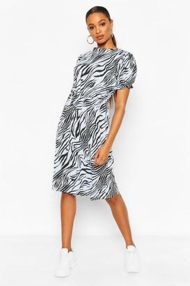 boohoo Animal Print Slash Neck Rib Midi Dress