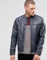 Blend of America Faux Leather Biker Jacket Ebony Gray
