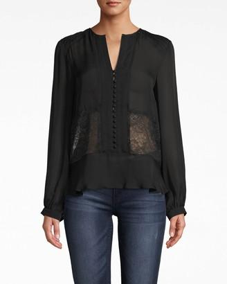 Nicole Miller Long Sleeve Lace Silk Blouse