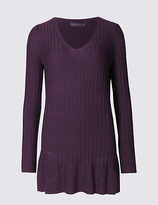 M&S Collection Ribbed Side Spilt V-Neck Tunic Jumper
